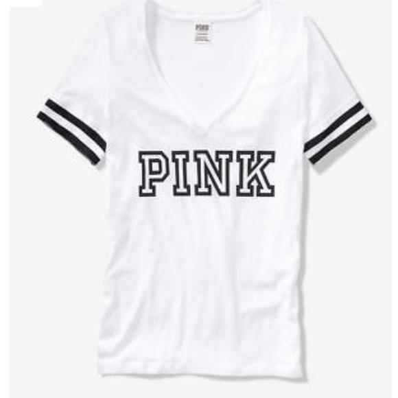 51b4e2c8d 🎉💕VS PINK PERFECT SHORT SLEEVE V NECK TEE WHITE. NWT. PINK Victoria s  Secret.  36  99. Size. M. L